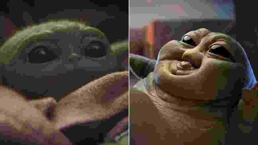 Baby Yoda e Baby Jabba, de Star Wars - Montagem/UOL