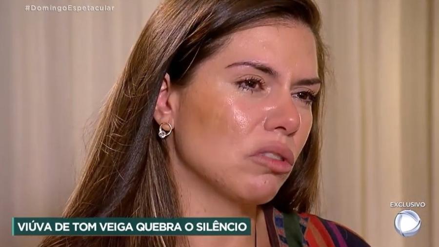 Cybelle Hermínio disse que não houve agressões entre ela e Tom Veiga - Reprodução/Record TV