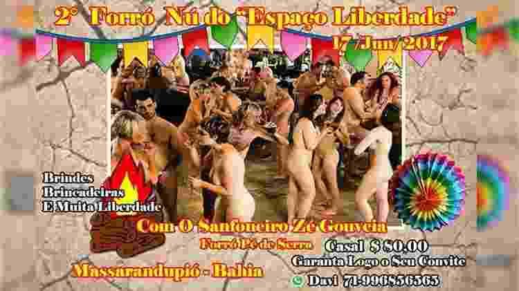 Convite da festa Forró Nu, que acontece neste mês em Massarandupió (BA) - Divulgação