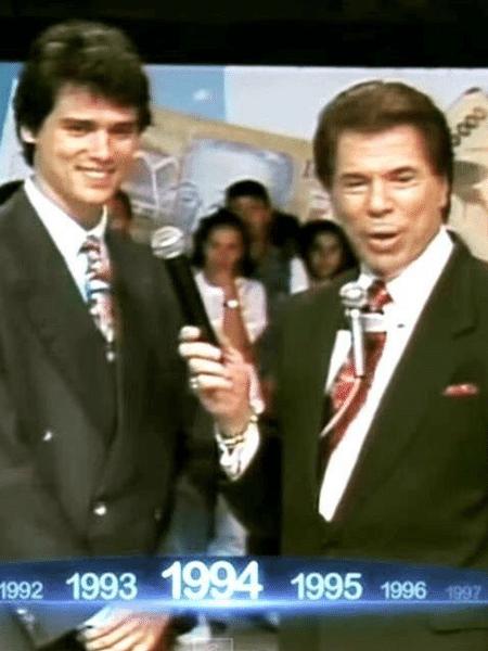 Celso Portiolli e Silvio Santos em foto de 1994, no primeiro encontro dos dois - Reprodução/Instagram/celsoportiolli