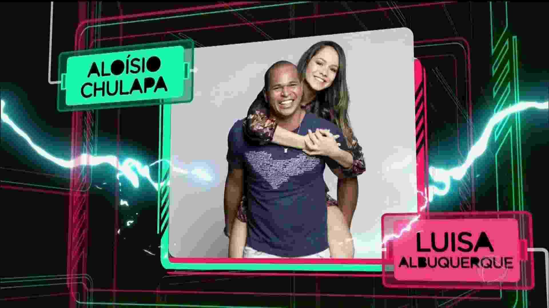 O ex-jogador Aloísio Chulapa e a mulher, a farmacêutica Luisa Albuquerque - Reprodução/Record