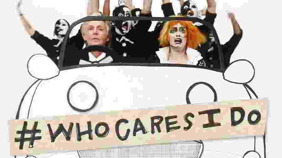 """Paul McCartney e Emma Stone no vídeo de """"Who Cares"""" - Reprodução/Twitter"""