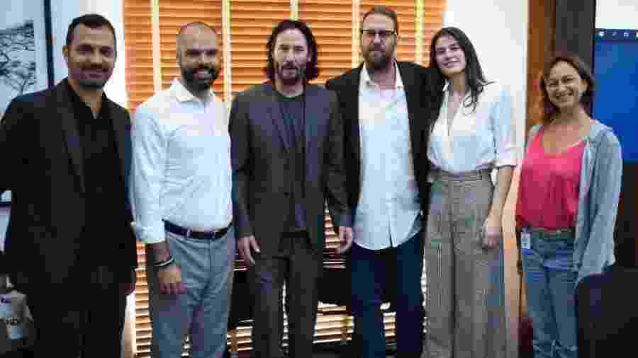 Alê Youssef, Bruno Covas, Keanu Reeves, Carl Erik Rinsch, Gabriela Roses e Laís Bodanzky - Leon Rodrigues/SECOM