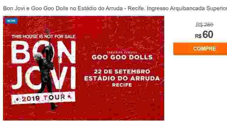 Ingressos de Bon Jovi vendidos a R$60,00 - Reprodução/Internet
