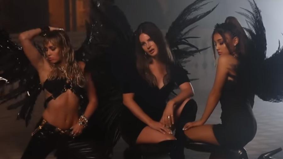 """Que trio! Ariana Grande disponibilizou os bastidores do clipe de Don""""t Call Me Angel com Miley Cyrus e Lana Del Rey - Reprodução/YouTube"""