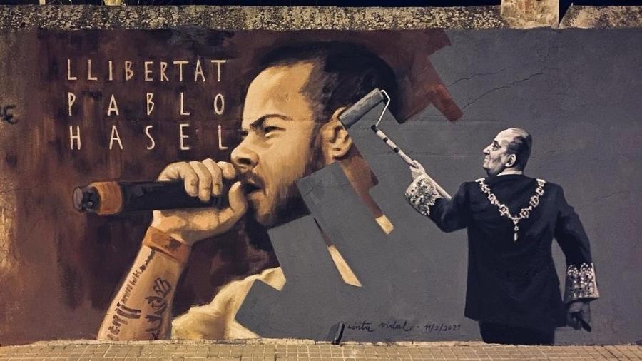Mural da artista Cinta Vidal em homenagem ao rapper - Cinta Vital