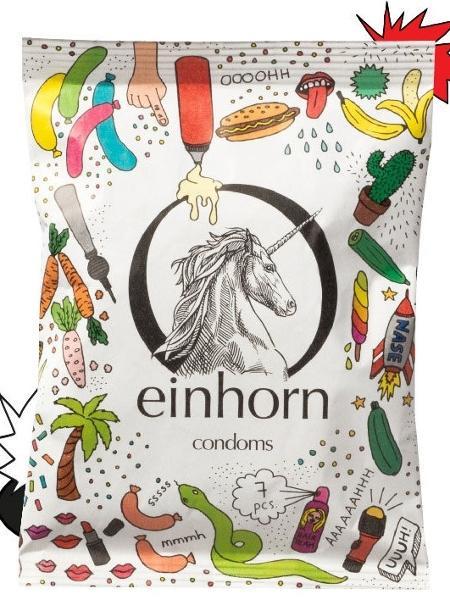 Preservativo de látex da empresa alemã Einhorn - Reprodução