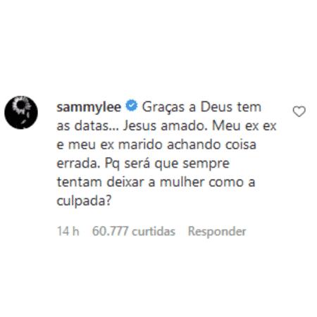 Comentário de Sammy - Reprodução/Instagram - Reprodução/Instagram