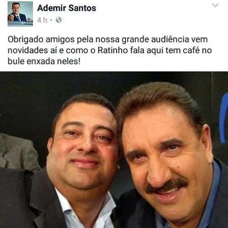 Ademir Santos, Apresentador da TV Alterosa, postou foto com Ratinho - Reprodução/Facebook