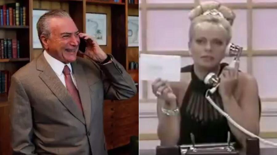 O presidente Michel Temer e a apresentadora Christina Rocha - Montagem/UOL