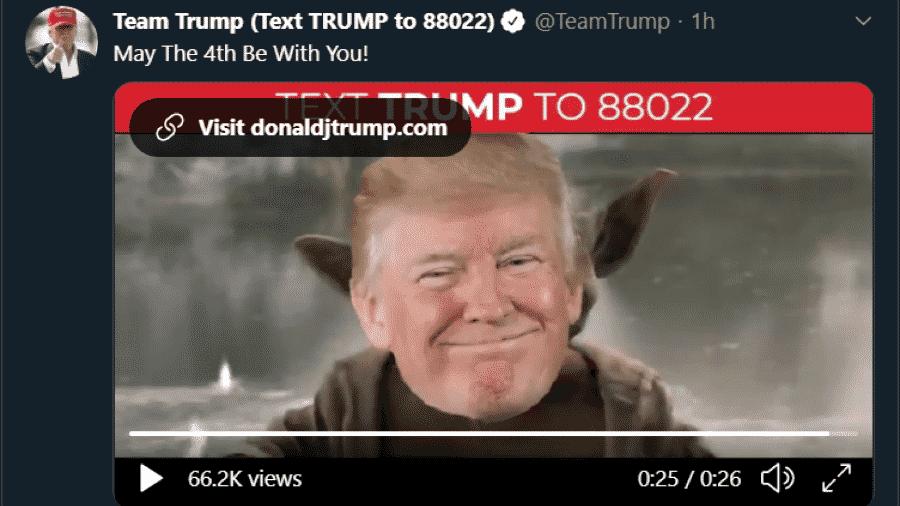 """Equipe de Trump posta vídeo em que presidente vira Yoda, de """"Star Wars"""" - Reprodução/Twitter"""