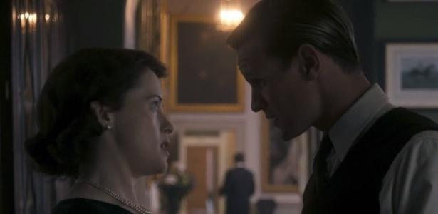 """Claire Foy e Matt Smith são a rainha Elizabeth 2ª e o príncipe Phillip em """"The Crown"""" - Reprodução/Netflix"""