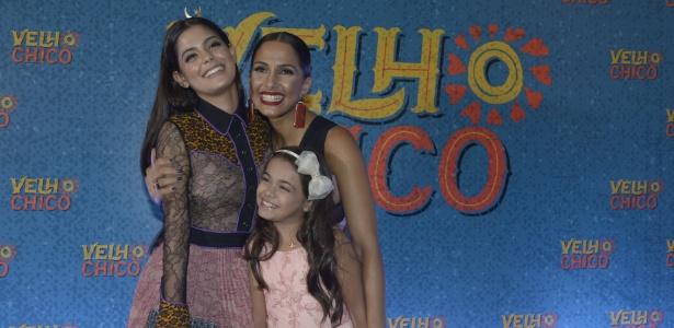 """Camila Pitanga com Julia Dalavia e Isabella Aguiar no lançamento de """"Velho Chico"""" - Renato Rocha Miranda/TV Globo"""