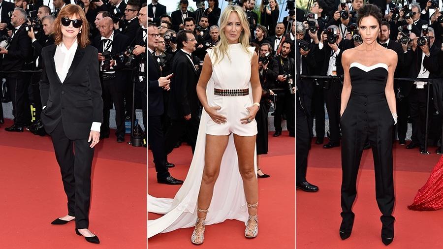 Susan Sarandon (à dir.), Lady Victoria Hervey e Victoria Beckham trocaram os tradicionais longos por peças de alfaiataria - Getty Images