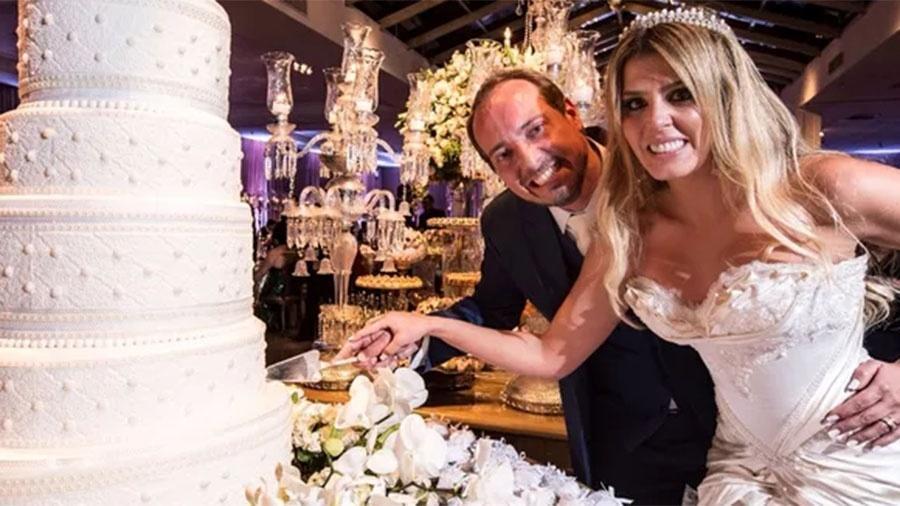 A ex-BBB Marcela Queiroz no dia do casamento com o empresário Joni Amorin