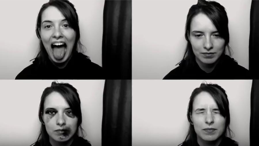 """Software da cabine Bruise Automat reconhece rosto feminino e aplica """"hematomas"""", em uma das fotos - Divulgação"""