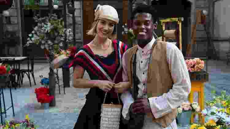 """Barbara França e Maicon Rodrigues, Celina e Pepito, nos bastidores de """"Tempo de Amar"""" - João Miguel Junior / TV Globo - João Miguel Junior / TV Globo"""