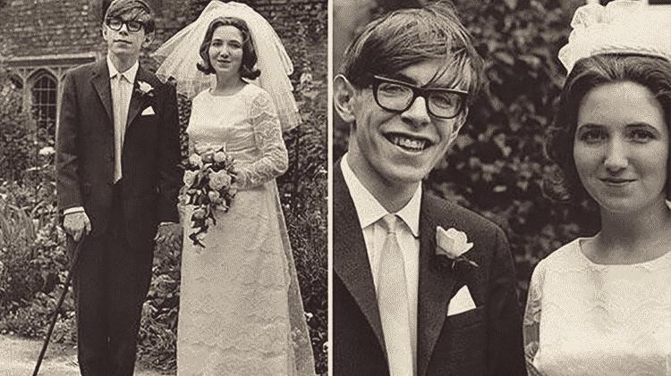 Stephen Hawking com sua ex-mulher, Jane Wilde, antes de se agravarem os sintomas da esclerose lateral amiotrófica (ELA), uma rara doença degenerativa que paralisou seus músculos e o pôs em uma cadeira de rodas - Reprdução/GQ A