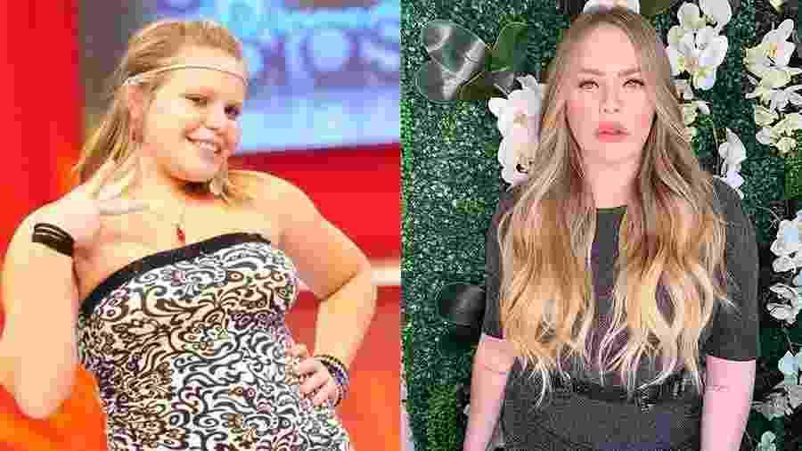 Antes e depois: Paulinha Leite na época do BBB 11 e em foto atual, após emagrecer, colocar mega hair e passar por procedimentos estéticos no rosto - Reprodução/Instagram