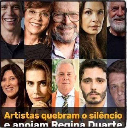 Regina Duarte publicou montagem com foto de Carolina Ferraz; atriz protestou - Reprodução/Instagram