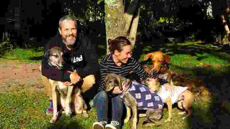 Kelly Rhein e o marido com os cachorros da família: Terra, Soho, Castanha e Amendoim - Arquivo Pessoal - Arquivo Pessoal