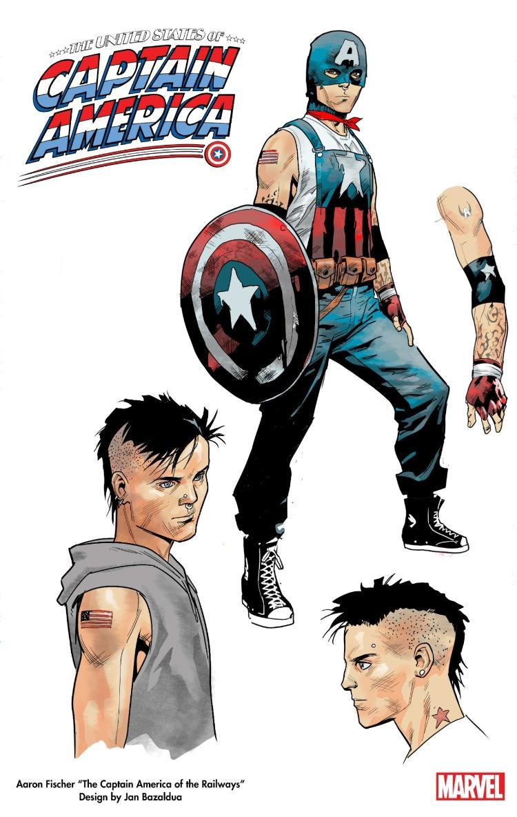 Arte conceitual do personagem Aaron Fisher, o novo Capitão América - Reprodução/Twitter - Reprodução/Twitter
