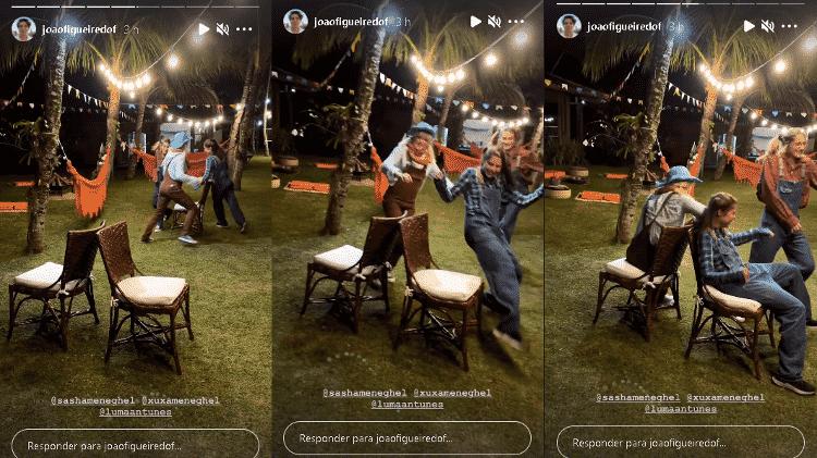 """Xuxa se diverte em """"dança das cadeiras"""" com Sasha - Instagram/@joaofigueiredof - Instagram/@joaofigueiredof"""