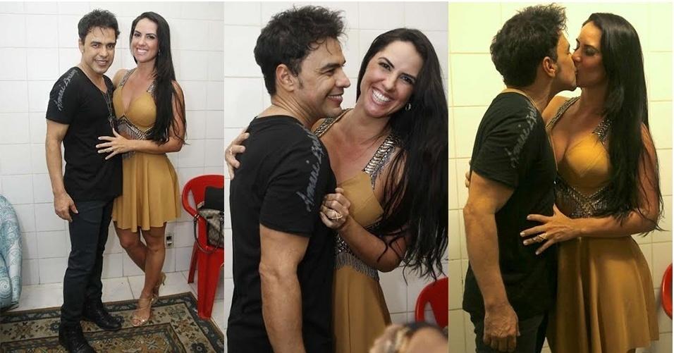 23.dez.2015 - Zezé Di Camargo com a namorada Graciele Lacerda na quadra da Imperatriz na noite de terça (22)