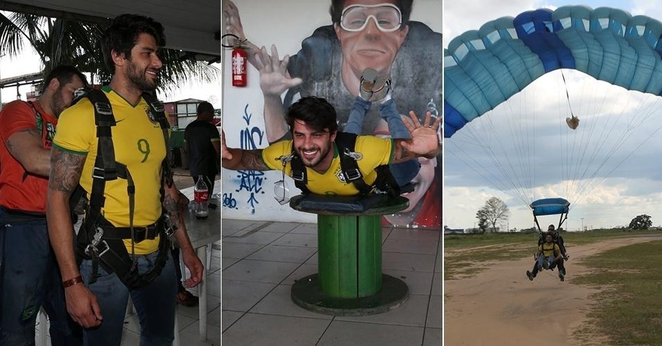 2.mai.2016 - O ex-BBB 16 Renan saltou de paraquedas pela primeira vez em Manaus (AM). O modelo fez preparação antes no local.