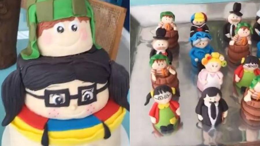 """Tatá escolheu bolo da Chiquinha e doces com os outros personagens da """"Turma do Chaves"""" para comemorar seus 34 anos - Reprodução/Instagram/Montagem UOL"""