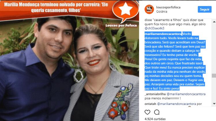 Marília Mendonça se irrita em post no Instagram e pede paz - Reprodução/Instagram/loucosporfofoca - Reprodução/Instagram/loucosporfofoca