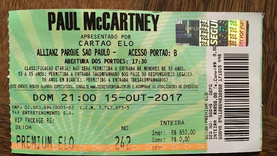 Ingresso para o show de Paul McCartney em São Paulo comprado no guichê sem taxa de conveniência - Lucia Camargo Nunes/UOL