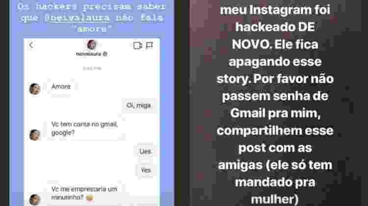 Laura Neiva mostra hacker conversando com seguidora e avisa que teve Instagram invadido - Reprodução/Instagram - Reprodução/Instagram