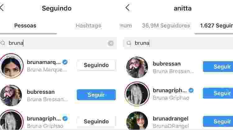 Anitta deixa mesmo de seguir Bruna Marquezine nas redes sociais - Reprodução/Instagram/@anitta