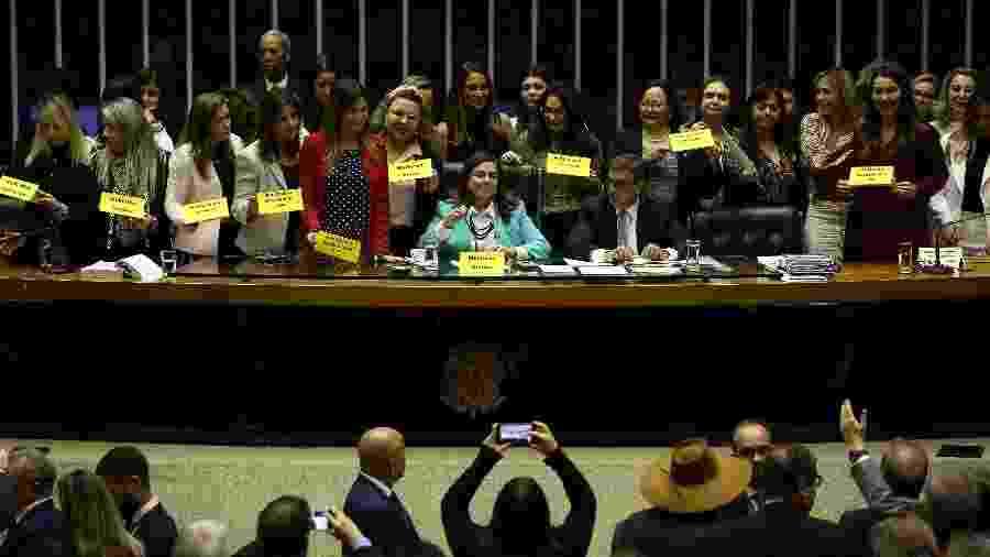 Em julho, deputadas da bancada feminina marcaram posição contra pontos da reforma que afetavam as mulheres - Pedro Ladeira/Folhapress