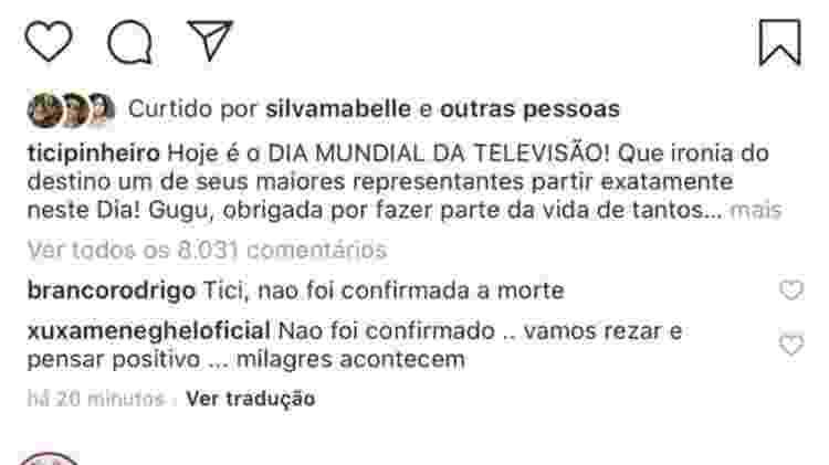 Xuxa tinha comentado o post antigo de Ticiane Pinheiro - Reprodução/Instagram