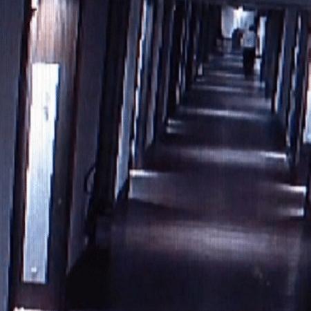 Mensageiro de hotel é visto na entrada de quarto de hóspede; ele foi preso em flagrante por estupro - Reprodução/TV Globo