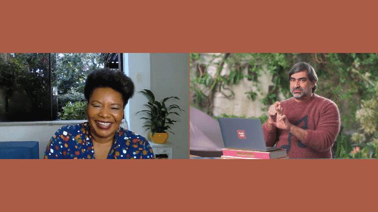 Direto de sua casa, na Bahia, Margareth conversou com Zeca Camargi - Reprodução - Reprodução