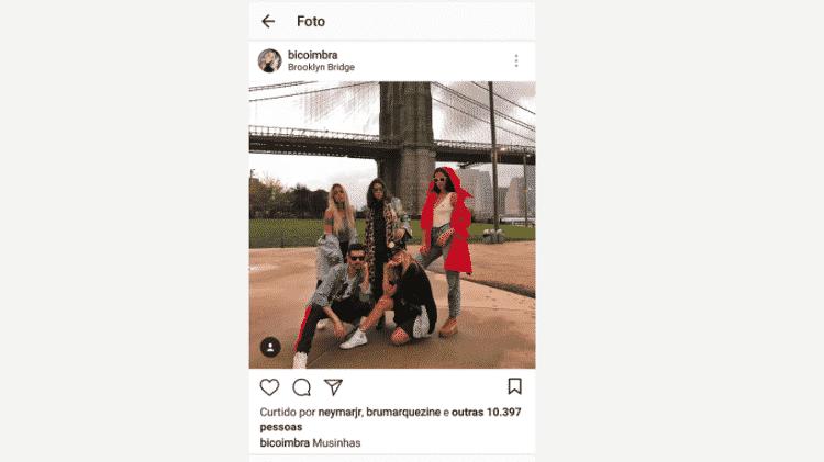Neymar curte foto publicada por Bianca Coimbra com Bruna Marquezine - Reprodução/Instagram - Reprodução/Instagram