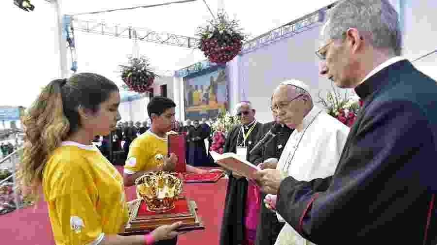 Papa Francisco discursa em uma celebração no Peru - AFP