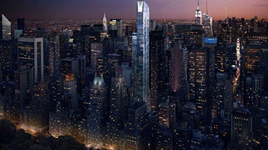 """O edifício One57 (mais alto, no centro), no """"Corredor dos Bilionários"""", em Nova York - Divulgação"""