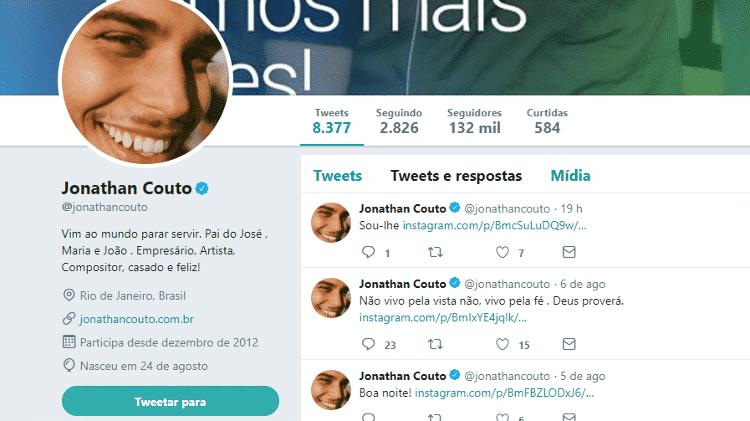 Jonathan Couto colocou ser pai de Maria em sua descrição no Twitter - Reprodução/Twitter - Reprodução/Twitter