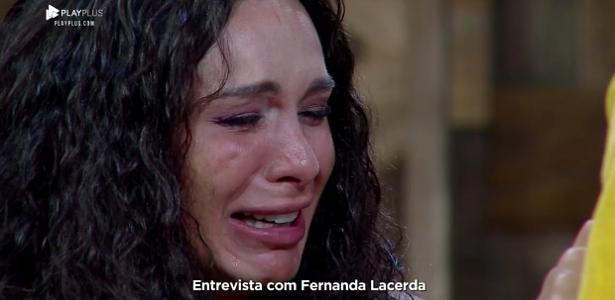 Fernanda Lacerda chora durante entrevista com Marcos Mion