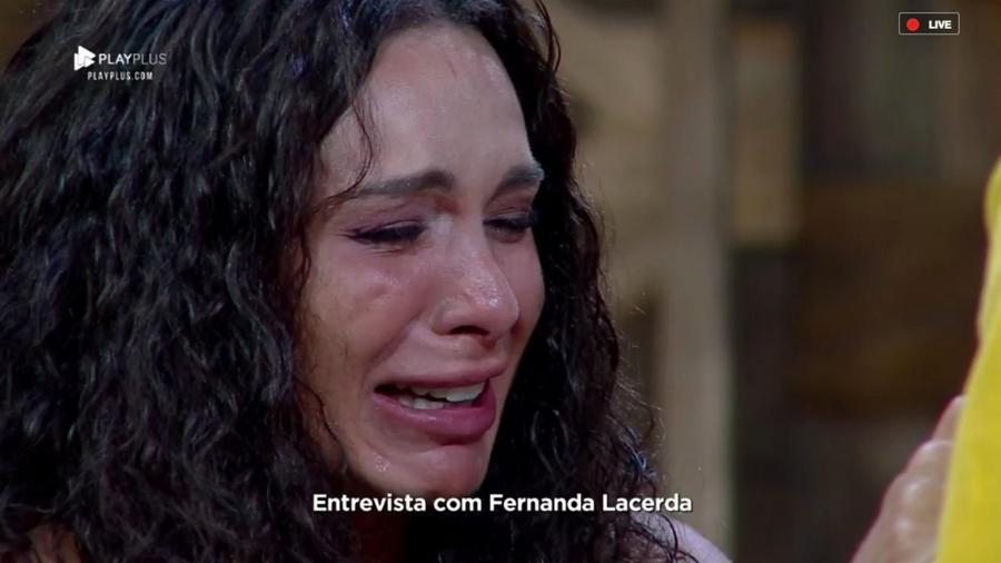 Fernanda Lacerda chora durante entrevista com Marcos Mion - Reprodução/RecordTV