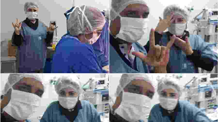 Pai e intérprete (foto) momentos antes do parto; mãe passou por cesárea em Libras para entender as orientações da equipe médica - Arquivo pessoal