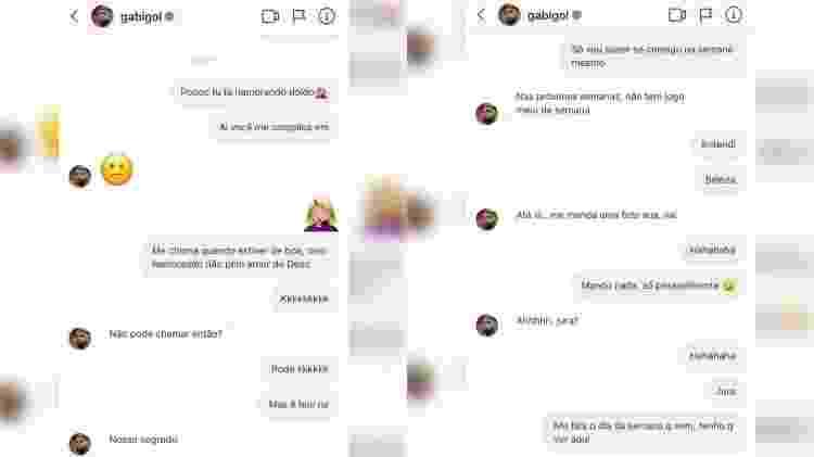 Conversa de Gabigol e Mariana Braguês - Reprodução/Instagram