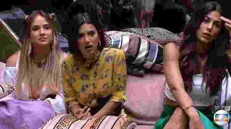 Gabi, Manu e Mari ficaram surpresas ao descobrirem que Babu e Rafa já estavam no paredão - Reprodução/TV Globo - Reprodução/TV Globo