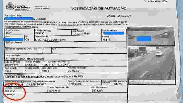 Multa 620 km/h Fortaleza Ceará Ishamu Shimaburuko Junior Mitsubishi ASX 2015 MULTA - Reprodução - Reprodução