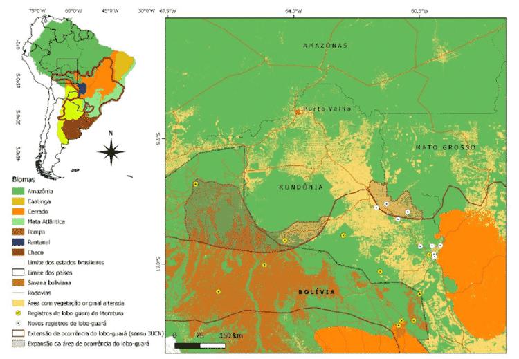 Mapa lobo guara - Mongabay - Mongabay