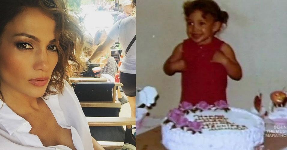 24.jul.2015 - Jennifer Lopez comemora seu aniversário de 46 anos publicando foto da infância